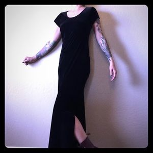 Vintage 90s Black Velvet Long Shirt Maxi Dress S